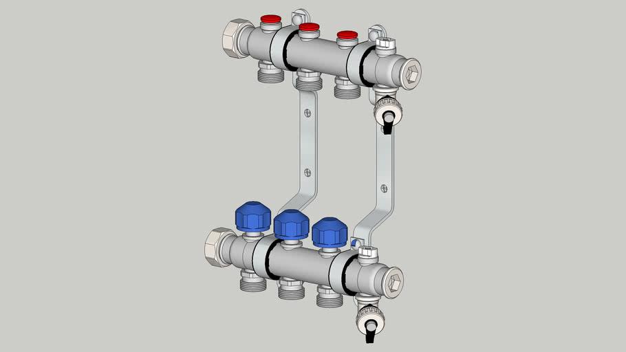 340153 Коллектор 3 контура 1_х3_4_ для систем отопления с термостатическими клапанами в сборе