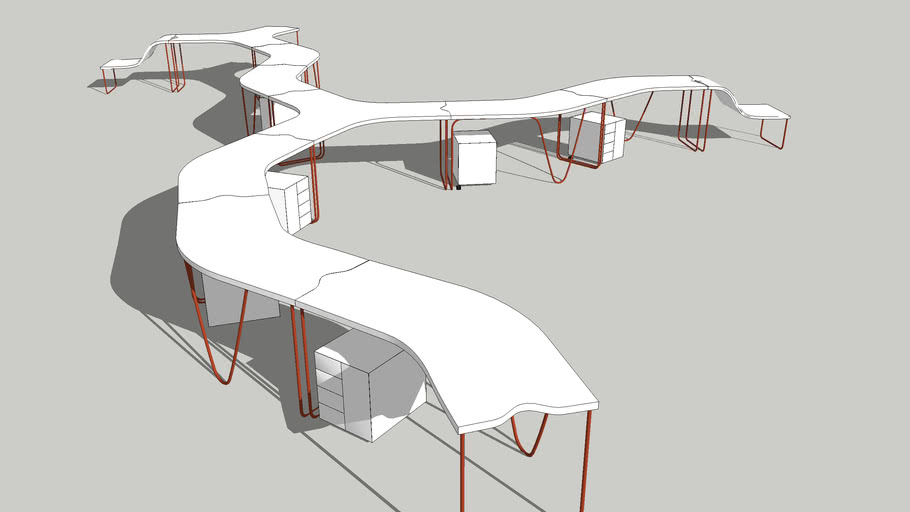 Curved modular desks