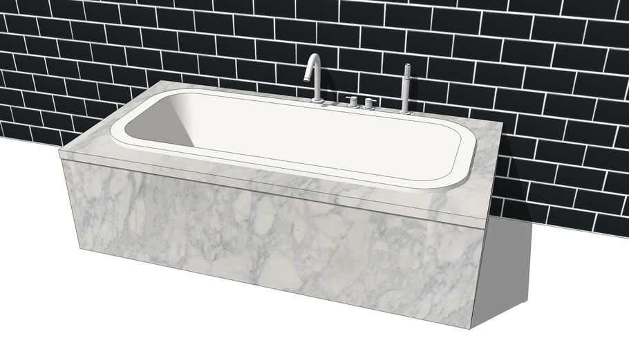 Bath inset with taps and shower