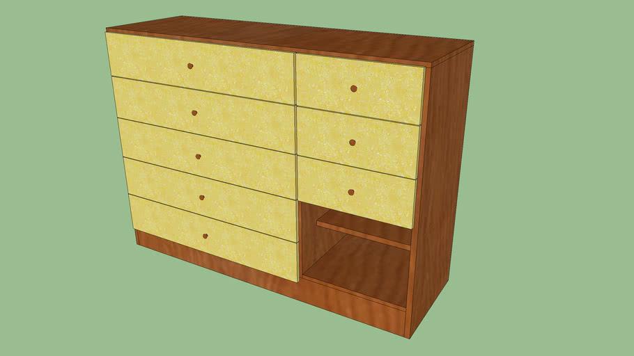 Balcão de Madeira - modelo simples 7 Gavetas