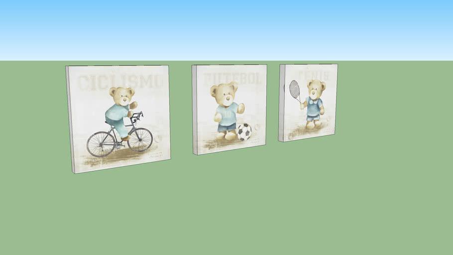 Quadro Urso Bicicleta Azul Claro