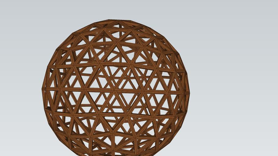 Dôme Géodésique 3V réalisable avec des tasseaux et des vis de 4 mètre de diamètre