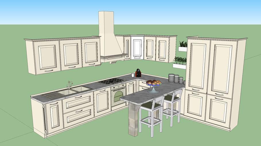 Classic Kitchen - Cucina angolare con penisola 3.42 x 3.64