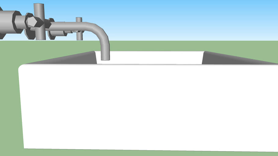 Rectangular basin and taps