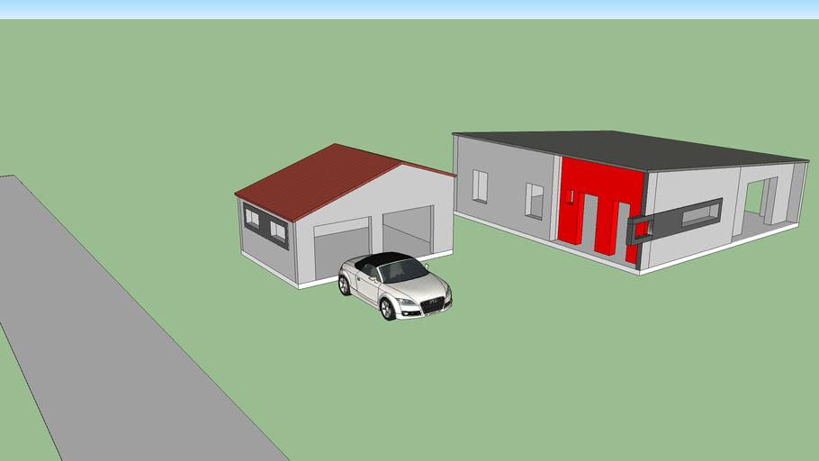 Maison moderne + garage double portes
