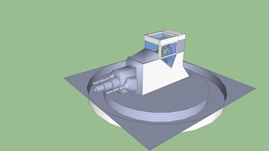 Turret for embedding in hull of space ship