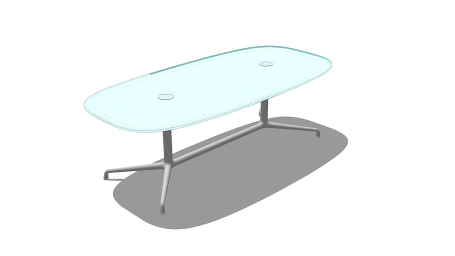Coalesse, SW_1, Low Conference Table, Super Elliptical, Glass, 84
