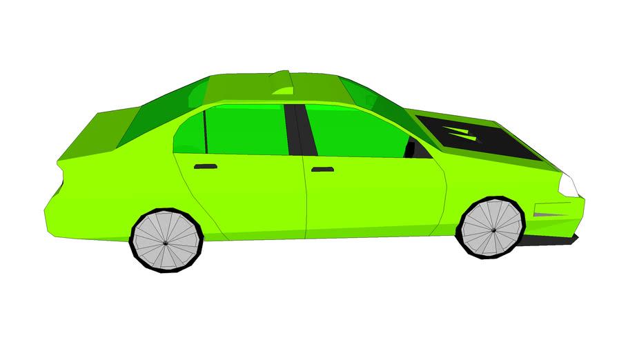 Modified green sedan