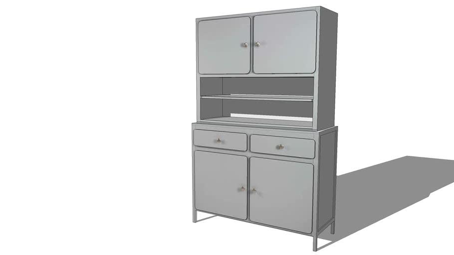 THELMA Vaisselier 4 portes 2 tiroirs gris REF 166067 PRIX 399.00€