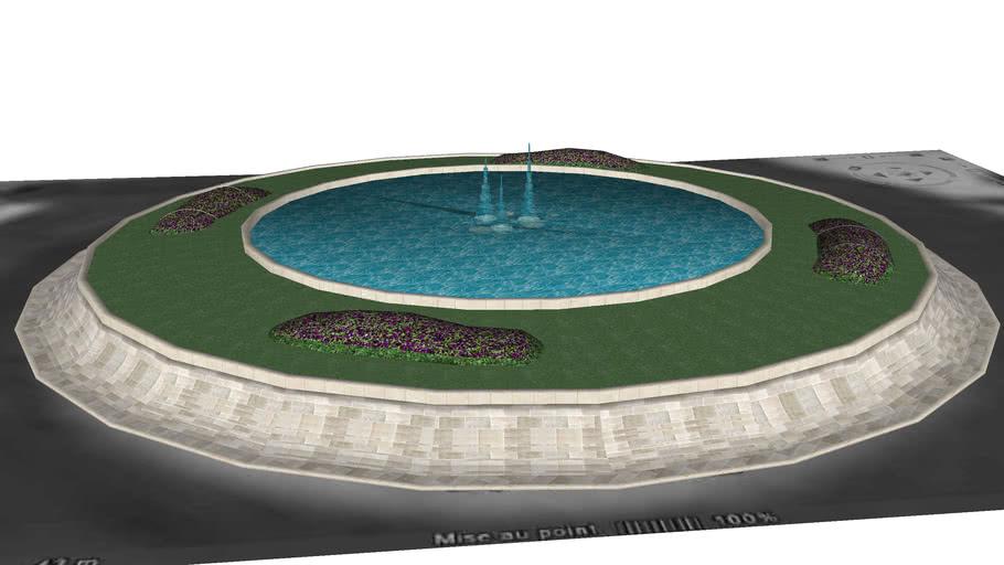 Rond-point en pierre avec fontaine