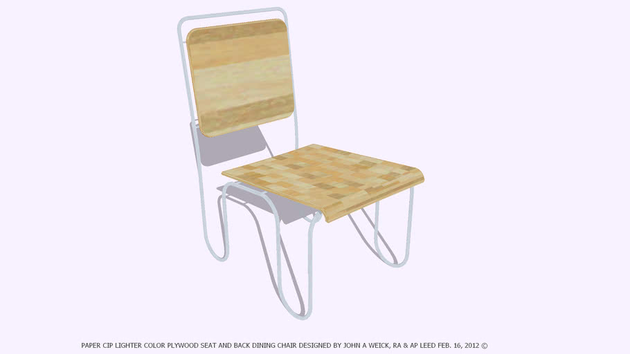 CHAIR PAPER CLIP LIGHT PLYWOOD SEAT & BACK DESIGNED BY JOHN A WEICK RA
