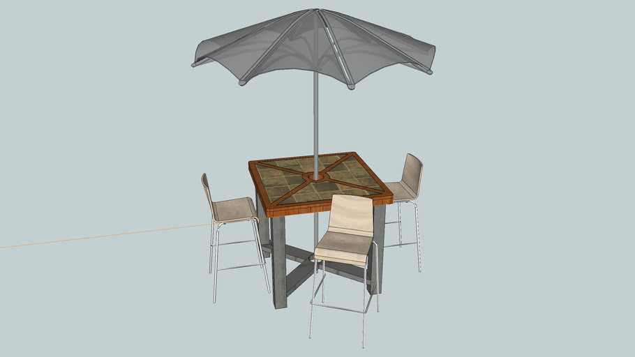 chairs and umbrella 3d warehouse
