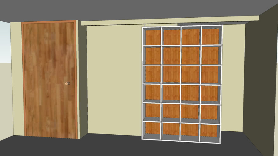 sliding closet door storage cubby wall