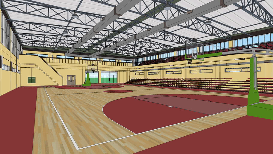 School Basketball / Multi Purpose Gym Building - Extreme High Detail (wi