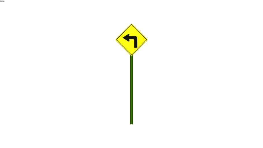 Left Turn Ahead Sign - Detailed