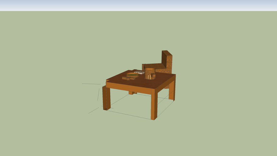 table and chair with meal