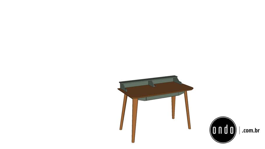 Escrivaninha Dresden . madeira e laca . cinza médio