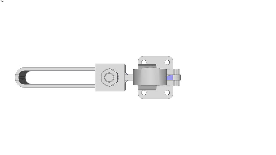 Vertical, quick-acting clamp with horizontal foot and full clamp lever