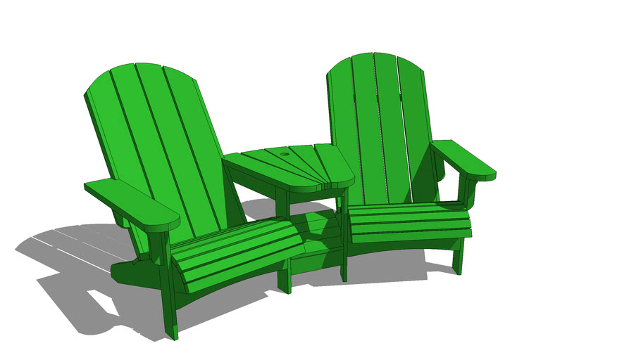 Double Adirondack Chair with Center Table