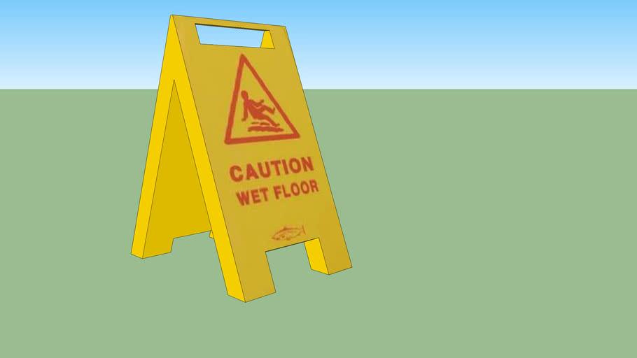 bell brush wet floor sign