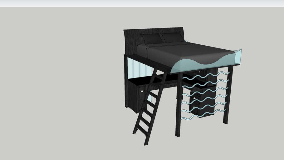 Bed w/ computer desk underneath