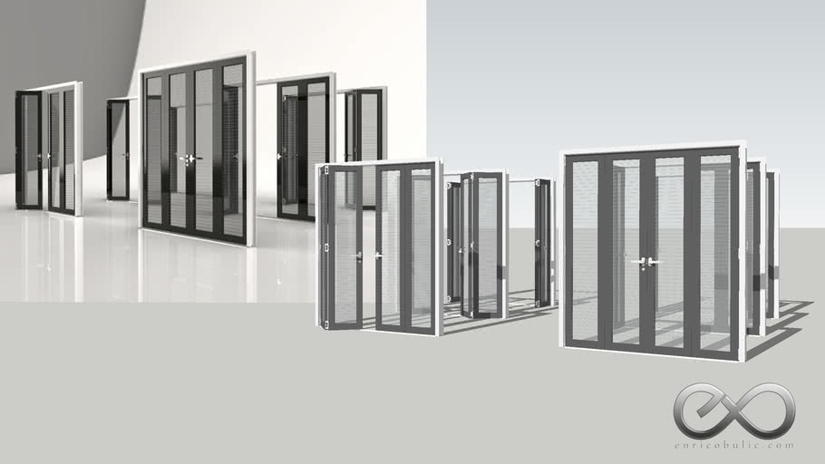 Folding Louvred Doors 2x2 - Open & Closed