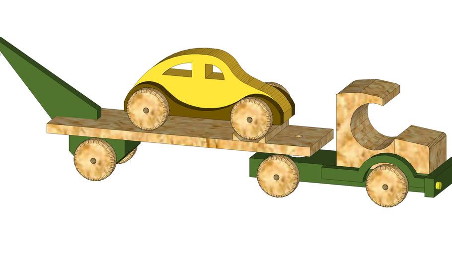 Wooden tow truck + Beetle