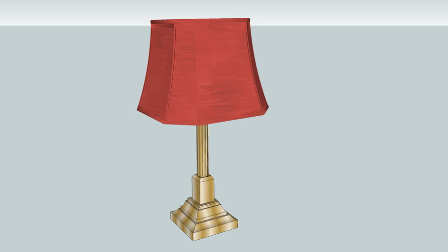 Gold Lamp Red Shade Warehouse
