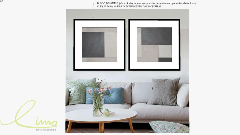 Conjunto com 2 quadros decorativos geométricos cinza
