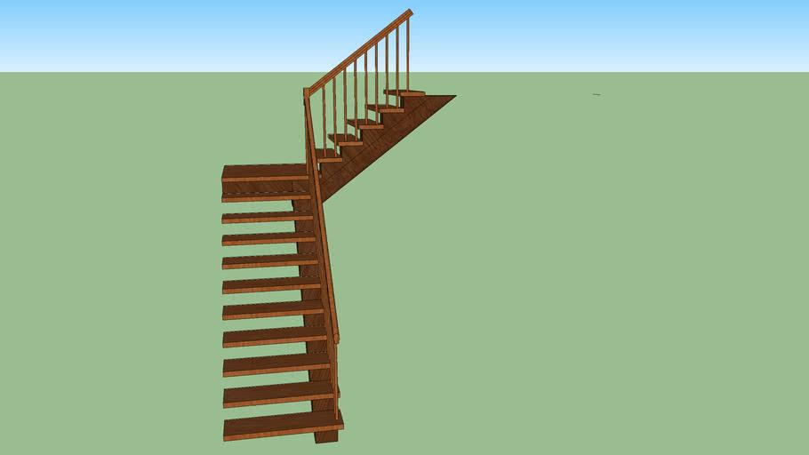 log stringer Staircase, 1 landing