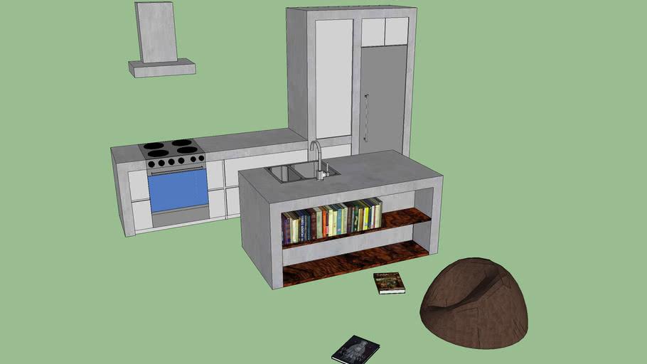 CONCRET KITCHEN with Bookshelve Kitchen Island