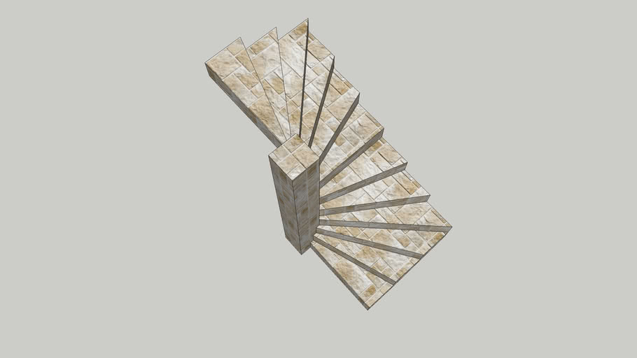 Solid Spiral Stairs in Square Space half Turn