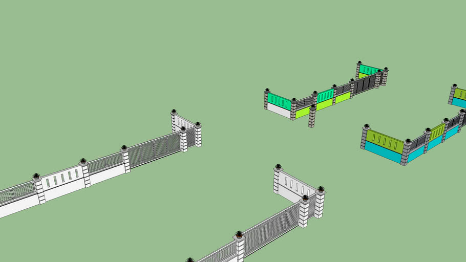 cat desain pagar rumah | 3D Warehouse
