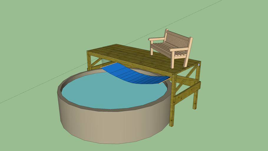 pool with deck and hammock