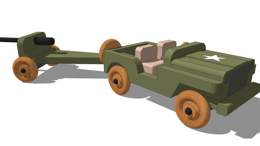 WWII Toy Jeep and Cannon