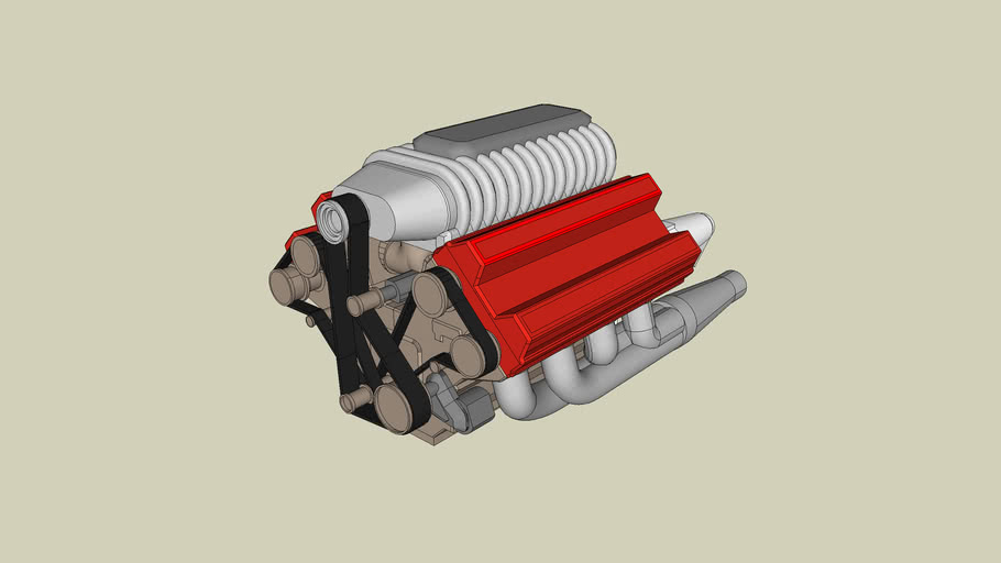 big V8 engine with supercharger exaust and transmission