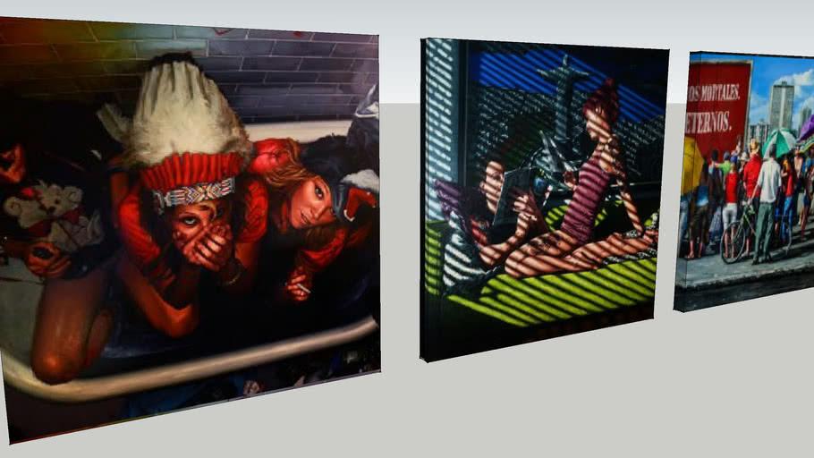 Schilderijen 3x 60x60cm