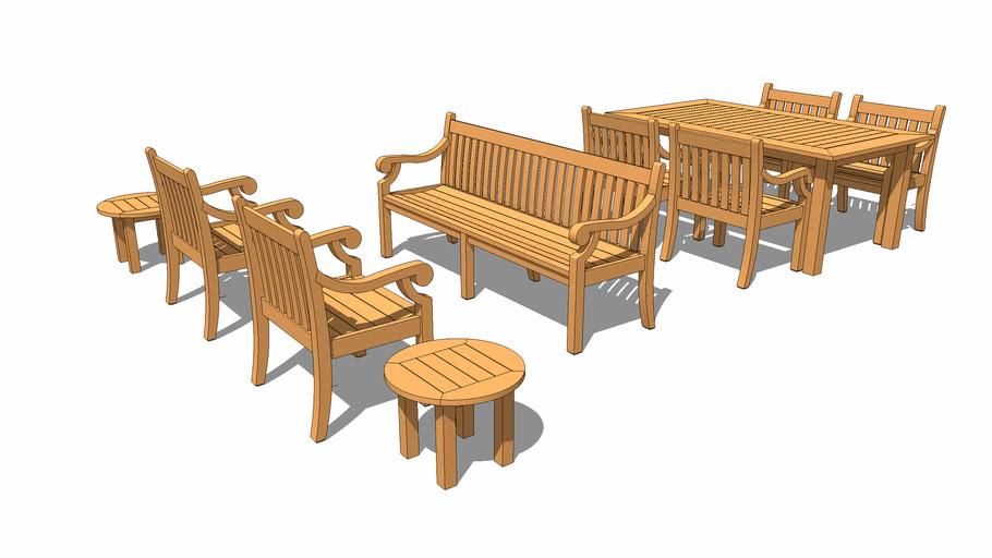 Teak garden furniture suite