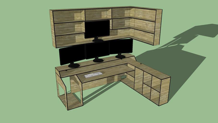 4 Monitor Corner Desk