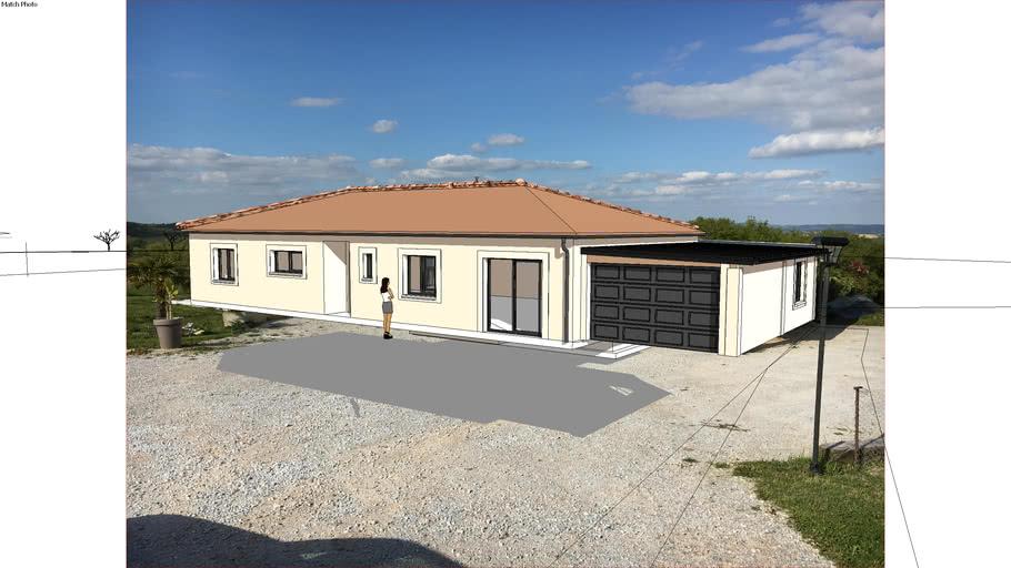 Garage clos et couvert et piscine sur maison individuelle