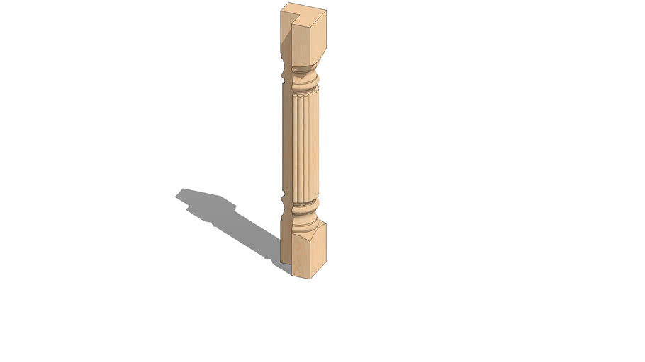 """01420220-3 Large Diameter Traditional Reeded Column - 3/4 ( 5"""" x 5"""" x 34.5"""" )"""