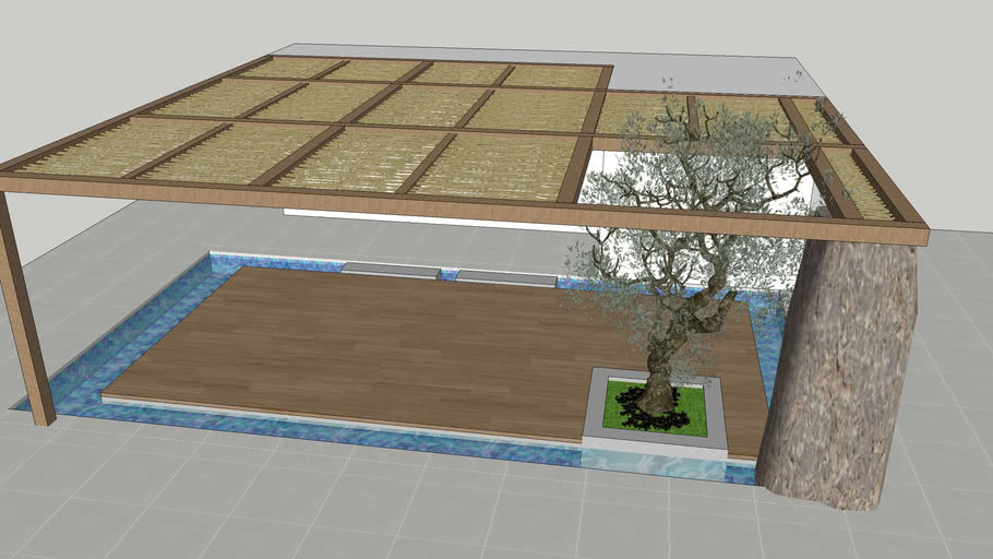 Wood Pergola ( reed and rock) and pool deck