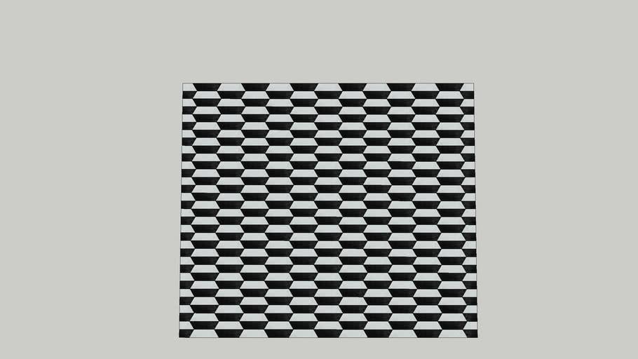 Tapete de Couro Geométrico - JC11 Preto e Branco