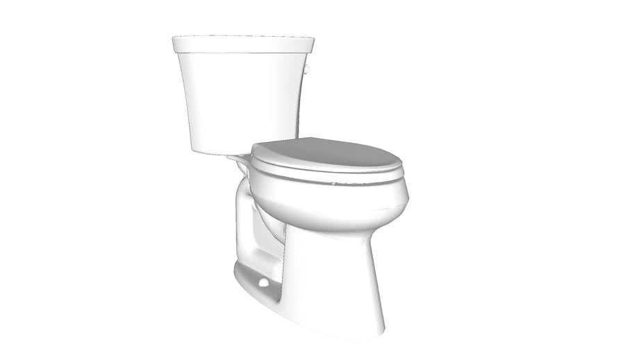 K-3999-RA Highline(R) Comfort Height(R) Comfort Height(R) two-piece elongated 1.28 gpf toilet with Class Five(R) flush technology and right-hand trip lever, seat not included