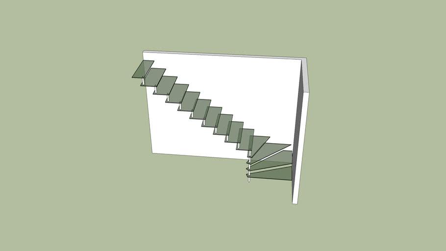Escada suspensa de vidro