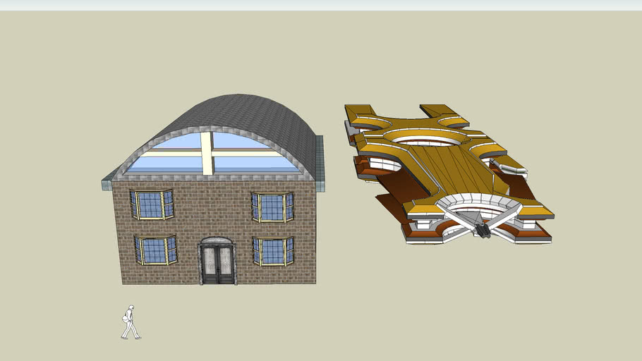 funny house and spaceship