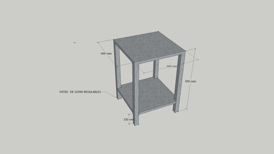 mesa acero/inox 60*60