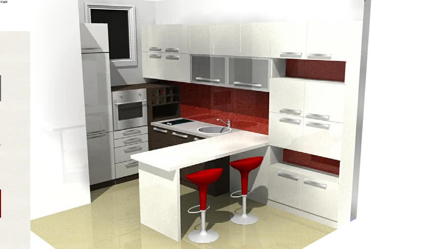 Marela kitchen - red&white