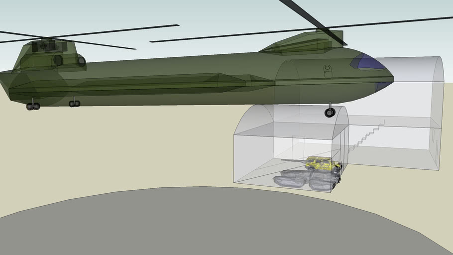 house with tank and chopper