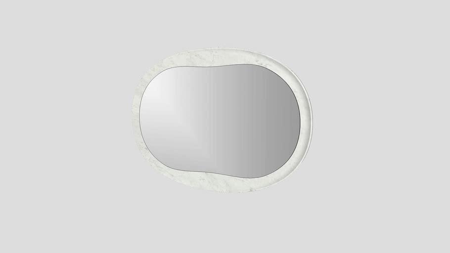 Oval mirror in Bianco Carrara marble | Salvatori | Anima 120x82cm